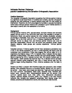Intimate Partner Violence position statement by the Canadian Orthopaedic Association