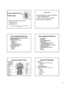 Intra-abdominal abdominal Abscess. Infections. Objectives. Normal GI Microflora Stomach: Total bacterial count Anatomy of the GI Tract