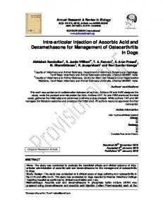 Intra-articular Injection of Ascorbic Acid and Dexamethasone for Management of Osteoarthritis in Dogs