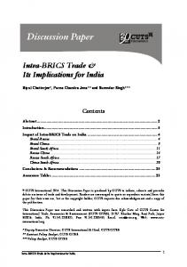 Intra-BRICS Trade & Its Implications for India