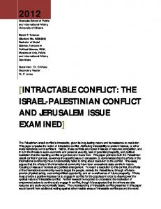 [INTRACTABLE CONFLICT: THE ISRAEL-PALESTINIAN CONFLICT AND JERUSALEM ISSUE EXAMINED]