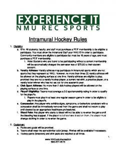 Intramural Hockey Rules