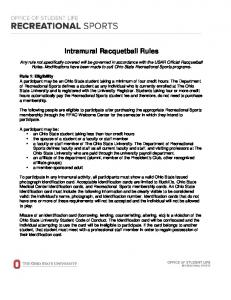 Intramural Racquetball Rules