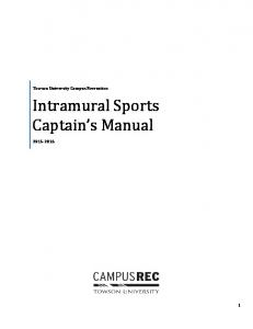 Intramural Sports Captain s Manual