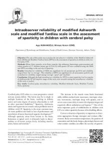 Intraobserver reliability of modified Ashworth scale and modified Tardieu scale in the assessment of spasticity in children with cerebral palsy