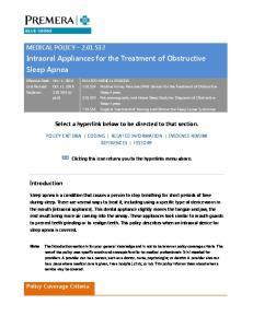 Intraoral Appliances for the Treatment of Obstructive Sleep Apnea