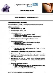 Intrapartum Guidelines. No 32: Admissions to the Neonatal Unit