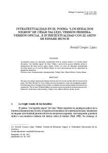 INTRATEXTUALIDAD EN EL POEMA LOS HERALDOS NEGROS DE CÉSAR VALLEJO, VERSIÓN PRIMERA- VERSIÓN OFICIAL, E INTERTEXTUALIDAD CON EL GRITO DE EDVARD MUNCH