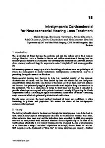 Intratympanic Corticosteroid for Neurosensorial Hearing Loss Treatment