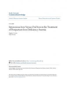 Intravenous Iron Versus Oral Iron in the Treatment of Postpartum Iron Deficiency Anemia