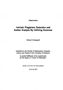 Intrinsic Plagiarism Detection and Author Analysis By Utilizing Grammar
