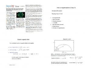 Intro to magnetosphere (Chap. 8) Dipole magnetic field. Homework #3 posted. Reading Chap Magnetic L-shell