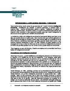 INTRODUCCION A LA INTELIGENCIA EMOCIONAL Y EDUCACION