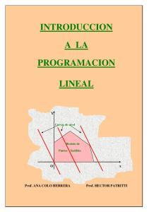 INTRODUCCION A LA PROGRAMACION LINEAL. Curvas de nivel. Recinto de