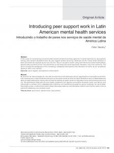 Introducing peer support work in Latin American mental health services