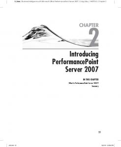 Introducing PerformancePoint Server 2007