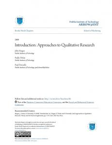 Introduction: Approaches to Qualitative Research