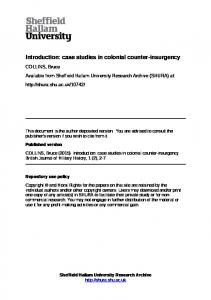 Introduction: case studies in colonial counter-insurgency