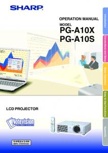 Introduction Connections and Setup Basic Operation Easy to Use Functions Appendix OPERATION MANUAL MODEL PG-A10X PG-A10S LCD PROJECTOR
