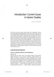 Introduction: Current Issues in Islamic Studies