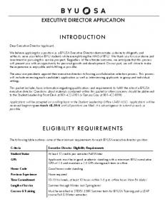 INTRODUCTION ELIGIBILITY REQUIREMENTS