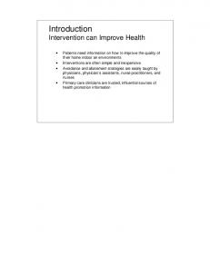 Introduction Intervention can Improve Health