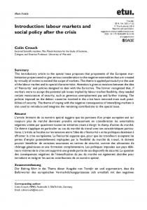 Introduction: labour markets and social policy after the crisis