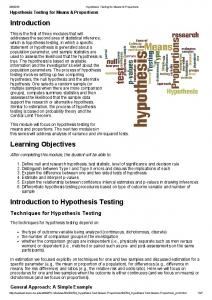 Introduction. Learning Objectives. Introduction to Hypothesis Testing. Techniques for Hypothesis Testing. General Approach: A Simple Example