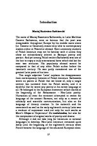 Introduction Maciej Kazimierz Sarbiewski