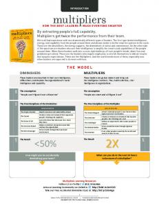 INTRODUCTION. multipliers HOW THE BEST LEADERS MAKE EVERYONE SMARTER