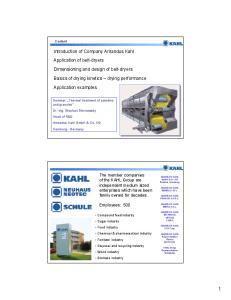 Introduction of Company Amandus Kahl. Basics of drying kinetics drying performance