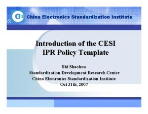 Introduction of the CESI IPR Policy Template