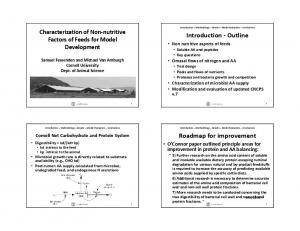 Introduction Outline. Roadmap for improvement. Characterization of Non nutritive Factors of Feeds for Model Development