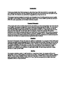 Introduction. Program Philosophy