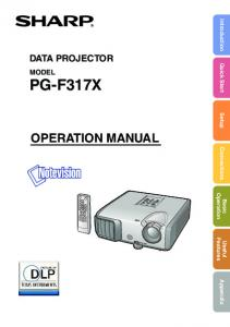 Introduction Quick Start Setup Connections DATA PROJECTOR MODEL PG-F317X OPERATION MANUAL. Operation. Basic. Features. Useful