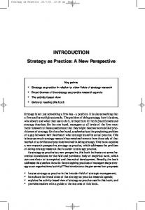 INTRODUCTION Strategy as Practice: A New Perspective