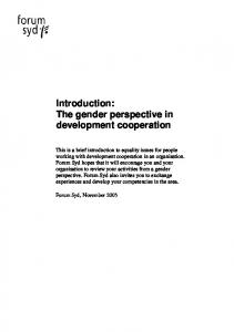 Introduction: The gender perspective in development cooperation