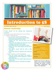 Introduction to 5S. About Activity: