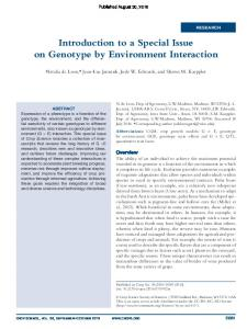 Introduction to a Special Issue on Genotype by Environment Interaction