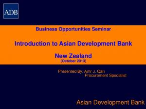 Introduction to Asian Development Bank. New Zealand