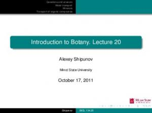 Introduction to Botany. Lecture 20
