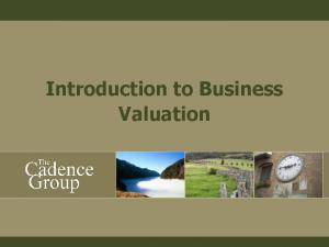 Introduction to Business Valuation