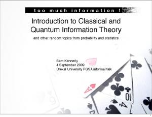Introduction to Classical and Quantum Information Theory
