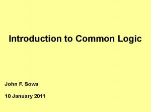 Introduction to Common Logic