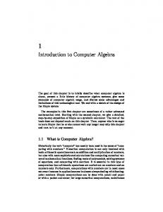 Introduction to Computer Algebra