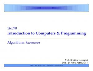 Introduction to Computers & Programming