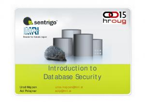Introduction to Database Security