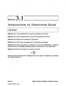 Introduction to Derivatives Rules