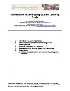 Introduction to Developing Student Learning Goals