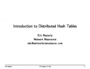 Introduction to Distributed Hash Tables